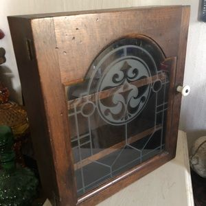 Vintage Wood Display Cabinet Shelf w Glass Door